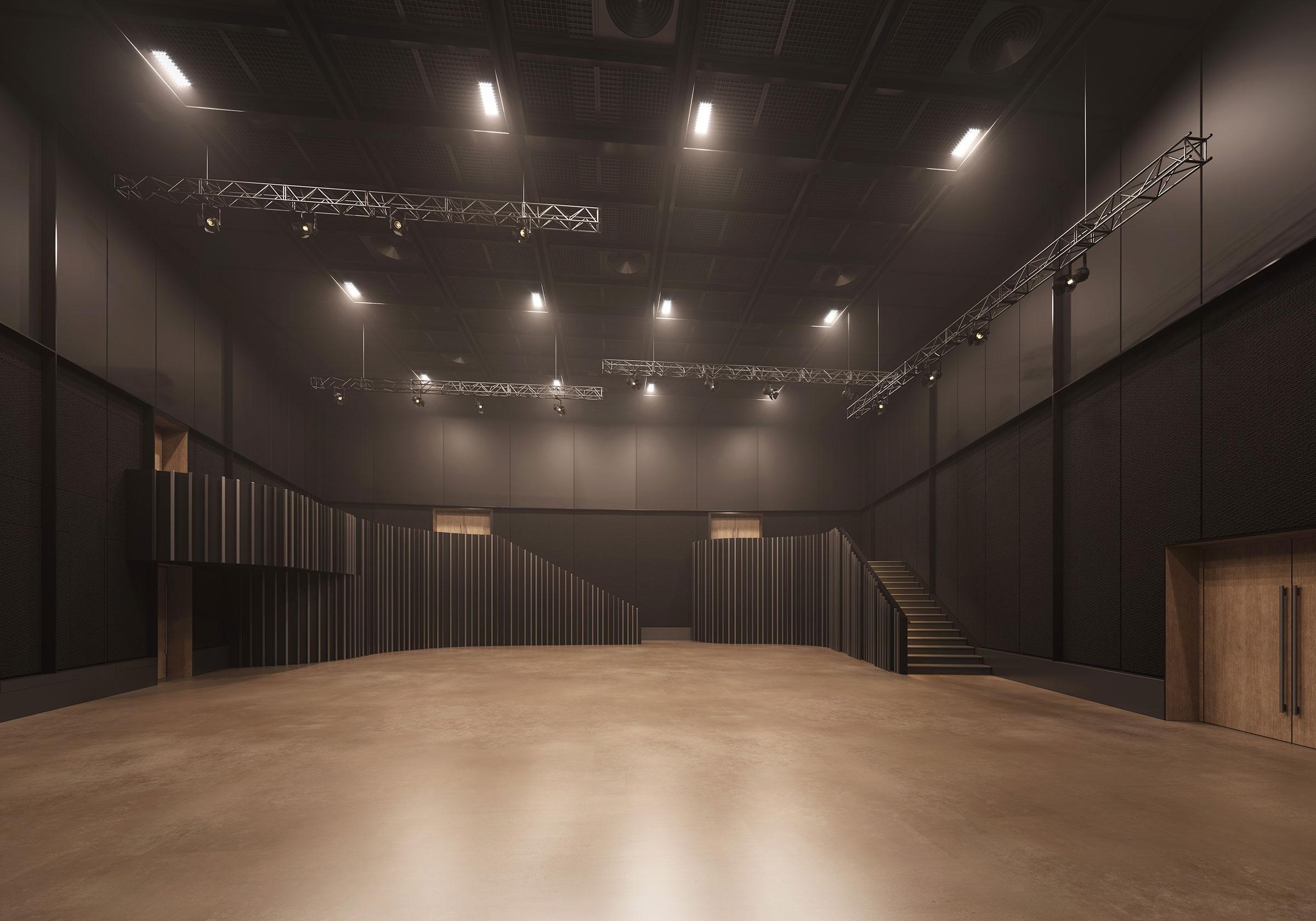 Perspective du studio 101 réalisée par LEMON SARL sur la base de l'avant-projet.<br />Multimédia, polyvalent et hyperconnecté, le studio 101 est conçu pour s'adapter à une très large gamme de productions.<br />© ARCHITECTURE-STUDIO / WSP / RADIO FRANCE