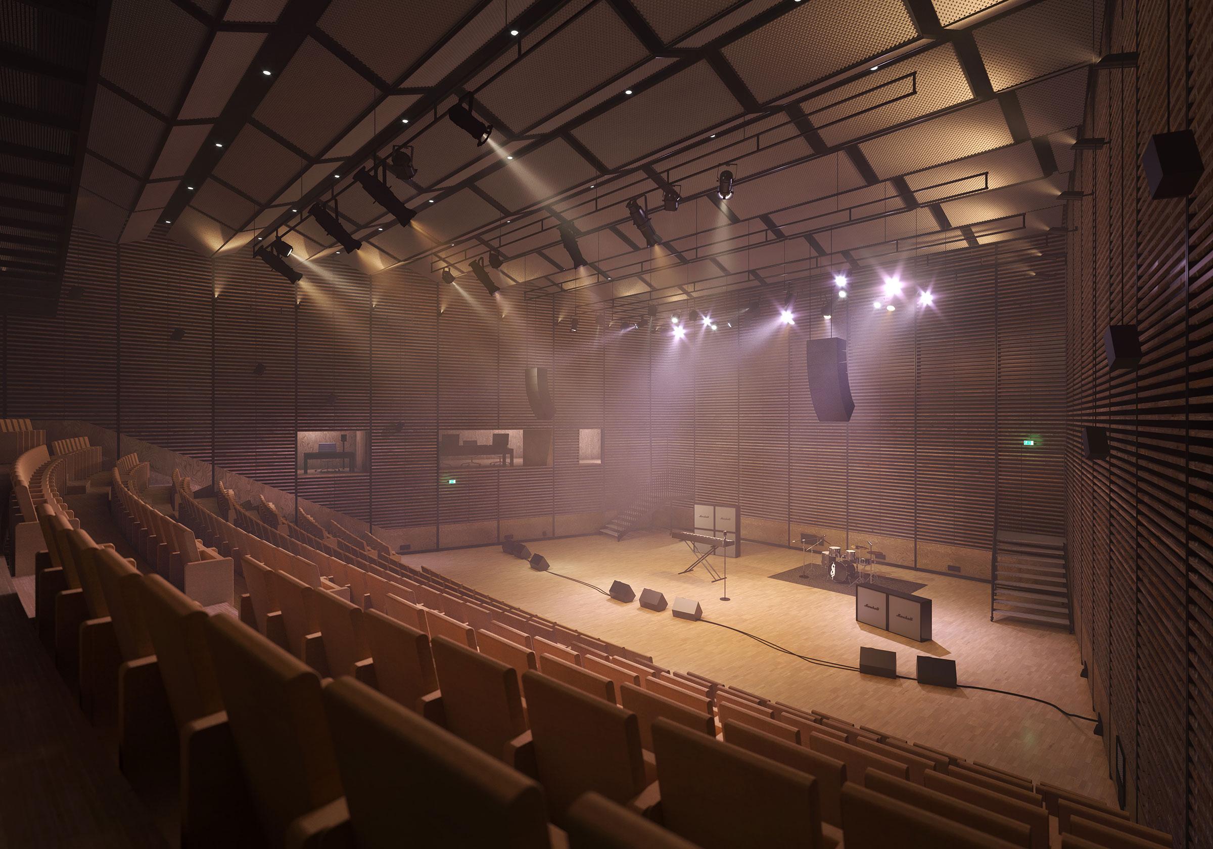 Perspective du studio 105 réalisée par LEMON SARL sur la base de l'avant-projet. <br />Consacré prioritairement à la captation et à la diffusion de concerts de variétés, le studio 105 pourra accueillir un public de 240 personnes. Il bénéficiera d'équipements de projection qualité cinéma et une partie des gradins sera rétractable pour agrandir la scène.<br />© Atelier Zündel Cristea - Rahim Danto Barry / WSP / RADIO FRANCE