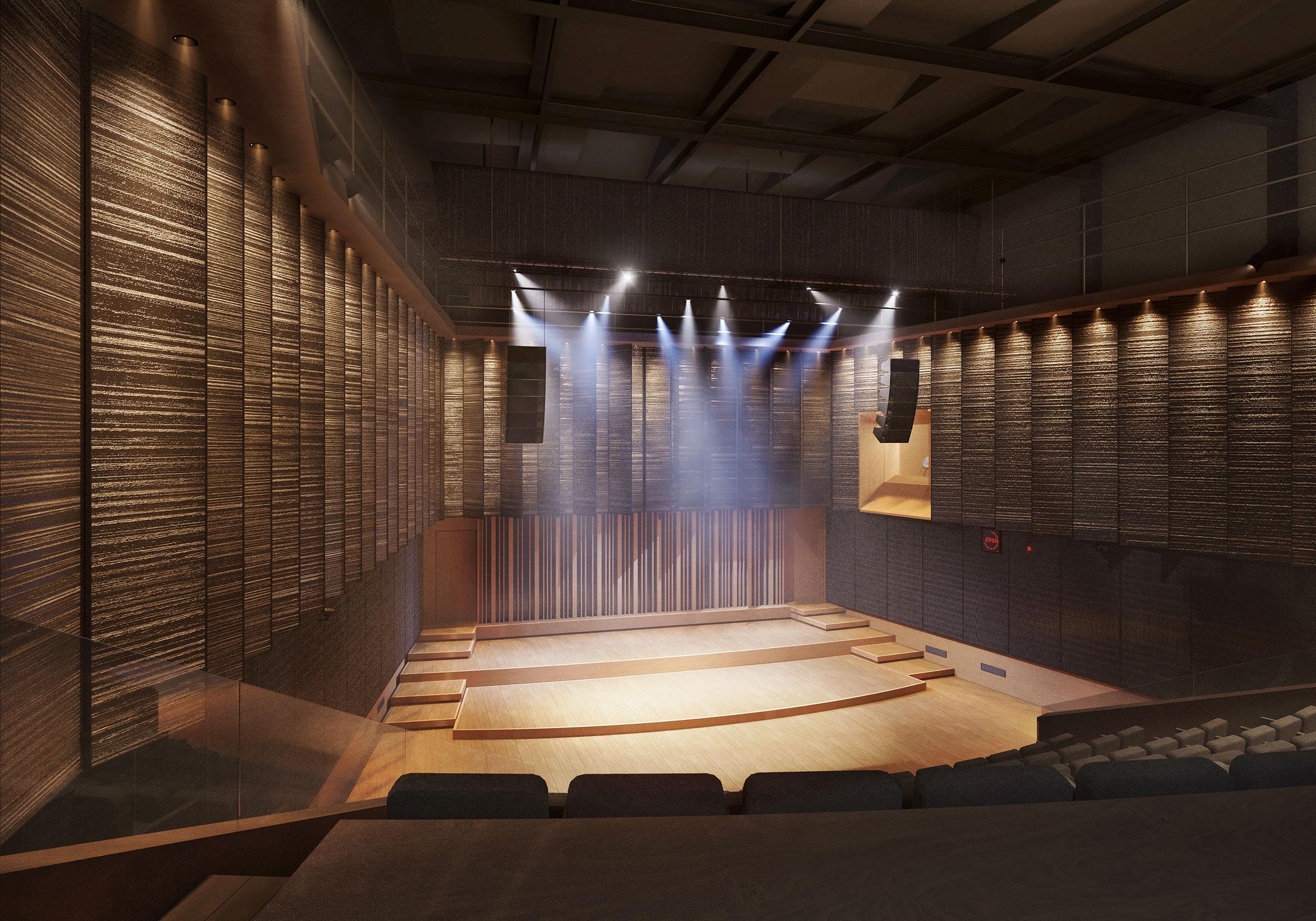 Perspective du studio 106 réalisée par LEMON SARL sur la base de l'avant-projet.<br />Parce que le studio 106 sera doté d'une acoustique variable, il pourra accueillir aussi bien des concerts de musique classique que des concerts de variétés. <br />© ALEXANDRE NOSSOVSKI (MMXI) / WSP / RADIO FRANCE