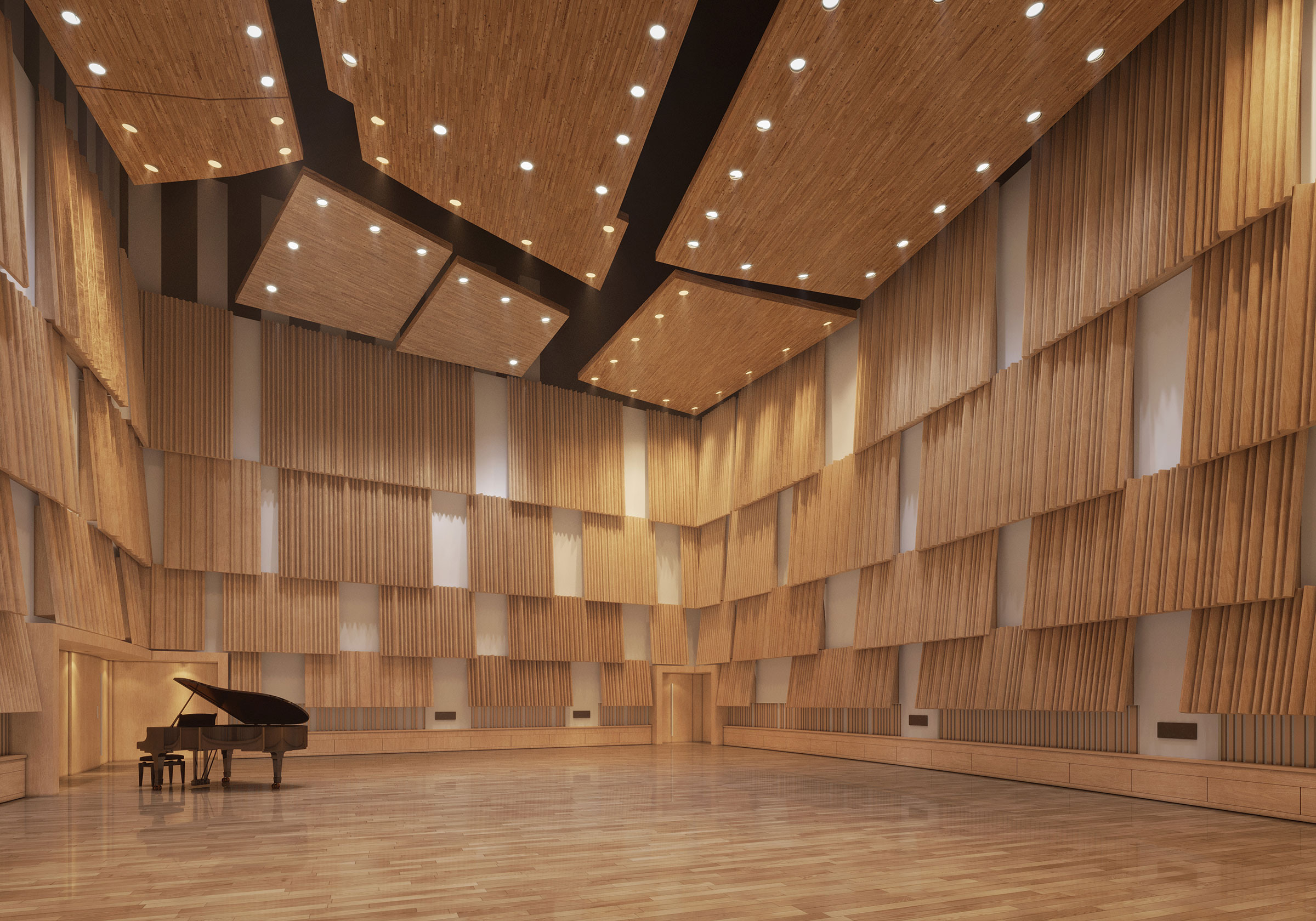 Perspective du studio 110 réalisée par LEMON SARL sur la base de l'avant-projet.<br />Issu de la fusion des anciens studios 110 et 111, le futur studio 110 sera dédié aux répétitions de l'Orchestre National de France, de l'Orchestre Philharmonique de Radio France, du Chœur et de la Maîtrise de Radio France.<br />© BUNKER PALACE / WSP / RADIO FRANCE