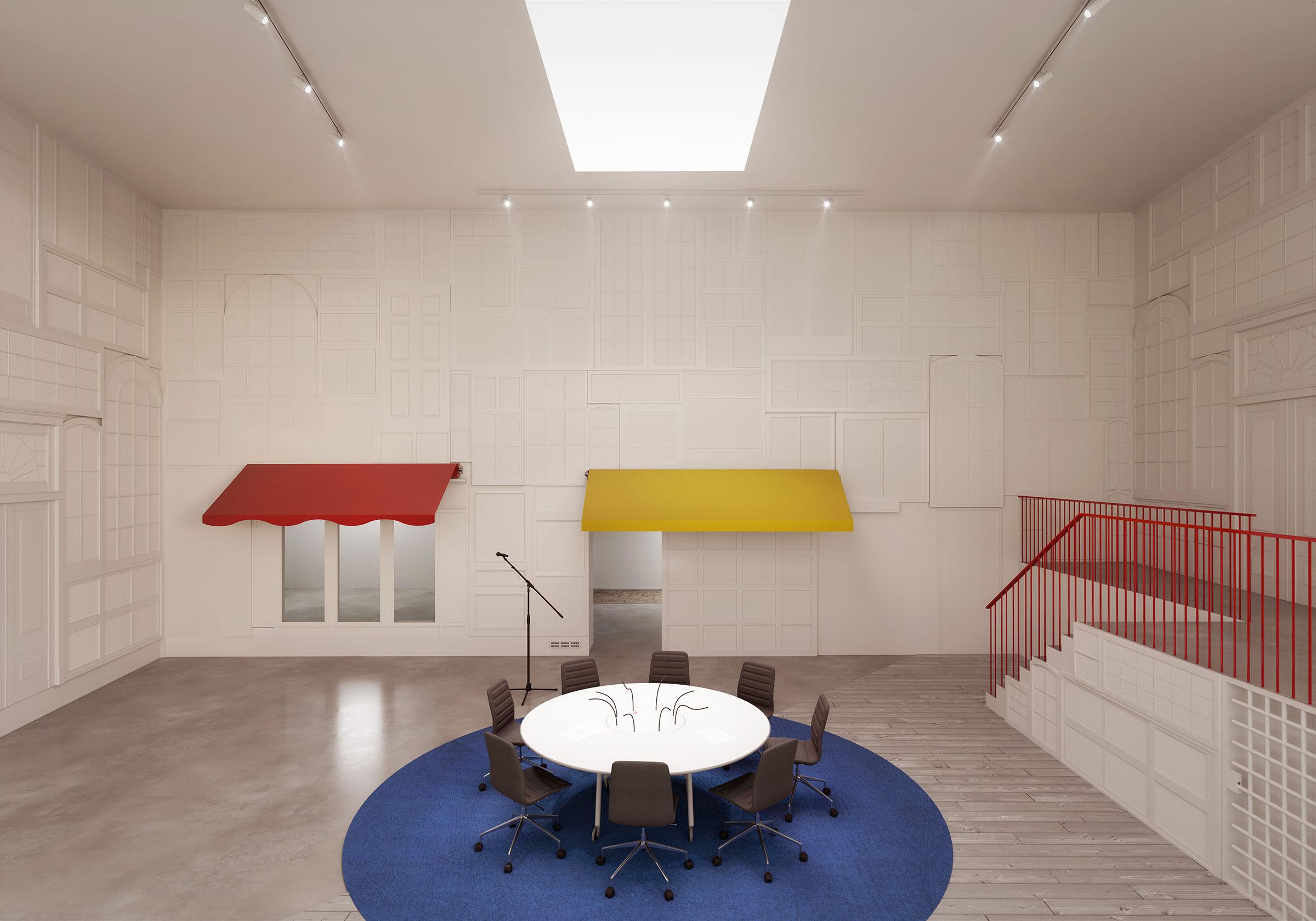 Perspective du studio 114 réalisée par LEMON SARL sur la base de l'avant-projet.<br />Consacré principalement à la production de fictions radiophoniques, le studio 114 sera équipé d'une chambre sourde, c'est-à-dire d'un local aménagé de manière à présenter le minimum de réverbération, et d'une chambre claire, c'est-à-dire d'un local aménagé de manière à présenter le maximum de réverbération.<br />© R architecture / WSP / RADIO FRANCE