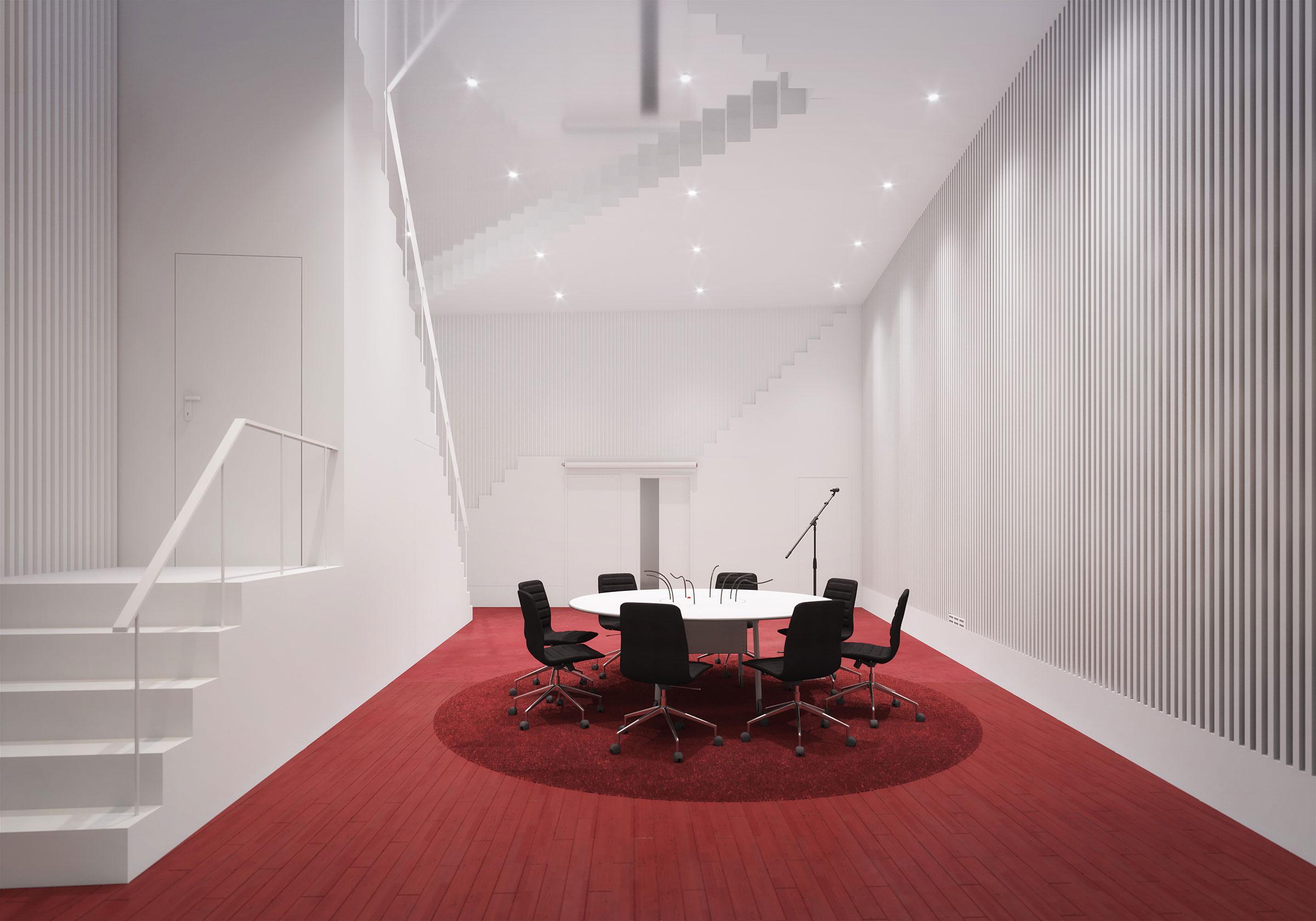 Perspective du studio 115 réalisés par LEMON SARL sur la base de l'avant-projet.<br />Consacrés principalement à la production de fictions radiophoniques, les studios 115, 116 et 117 seront équipés d'une chambre sourde.<br />© R architecture / WSP / RADIO FRANCE