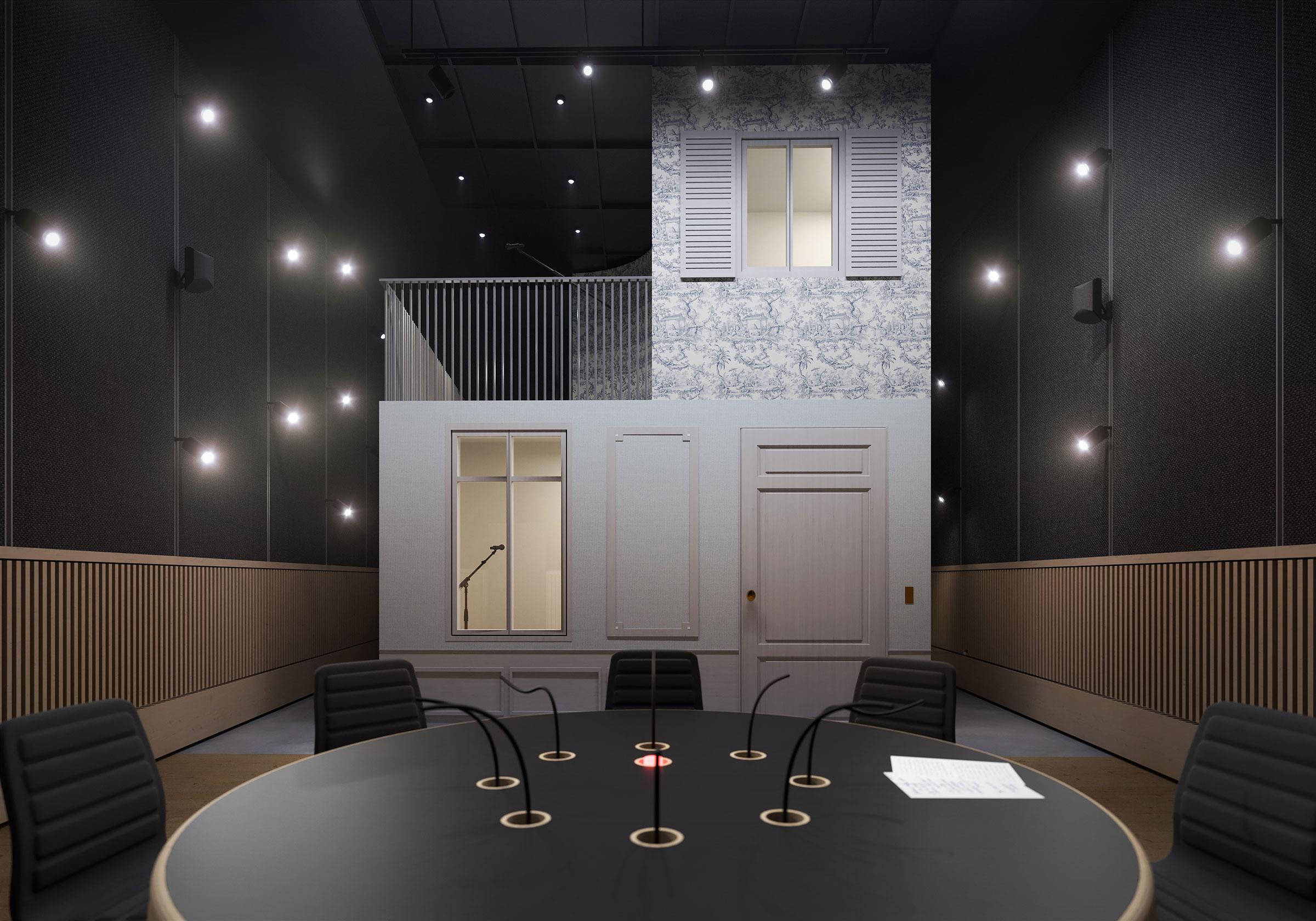 Perspective du studio 116 réalisée par LEMON SARL sur la base de l'avant-projet.<br />Consacrés principalement à la production de fictions radiophoniques, les studios 115, 116 et 117 seront équipés d'une chambre sourde.<br />© R architecture / WSP / RADIO FRANCE