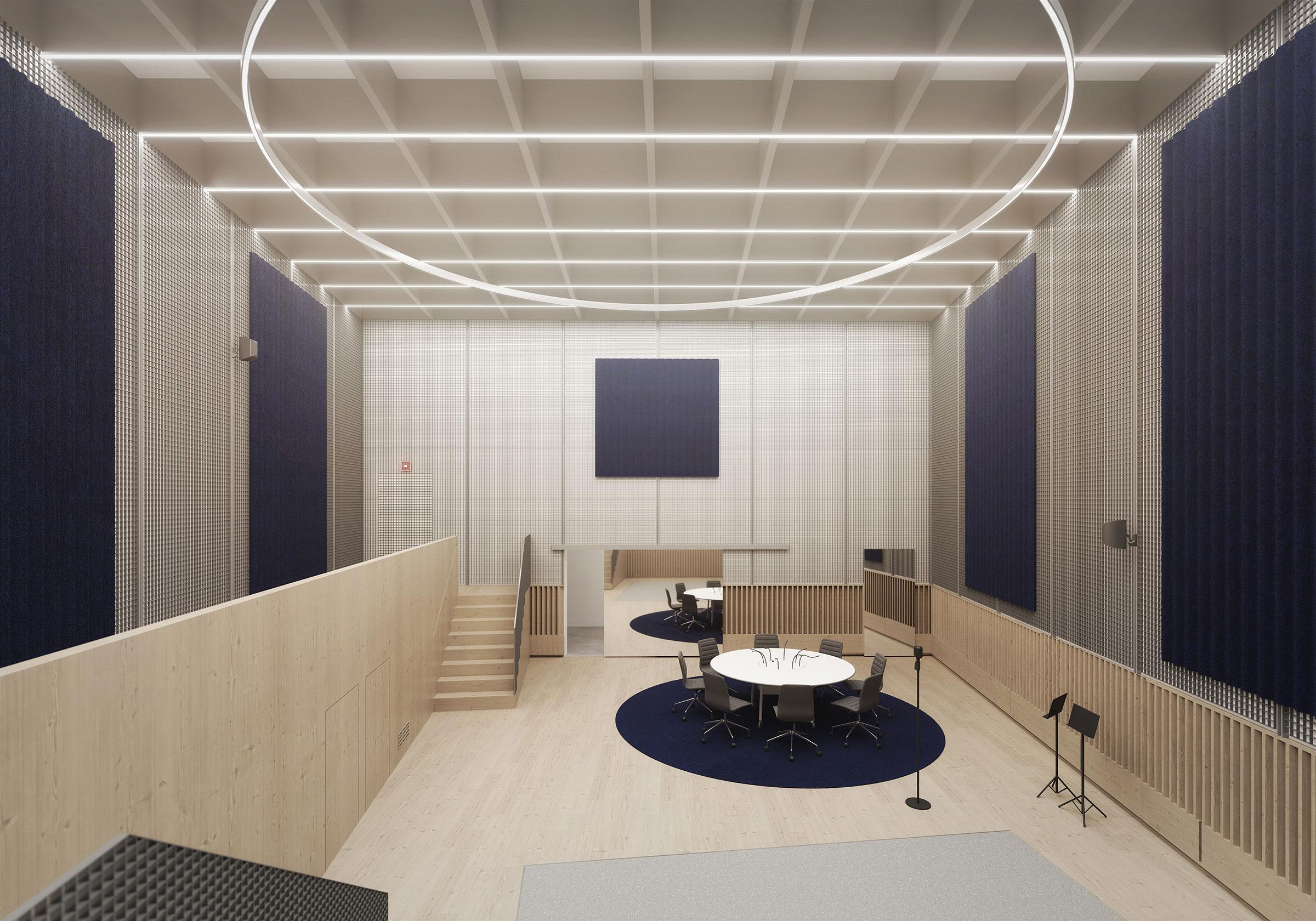 Perspective du studio 117 réalisée par LEMON SARL sur la base de l'avant-projet.<br />Consacrés principalement à la production de fictions radiophoniques, les studios 115, 116 et 117 seront équipés d'une chambre sourde.<br />© R architecture / WSP / RADIO FRANCE