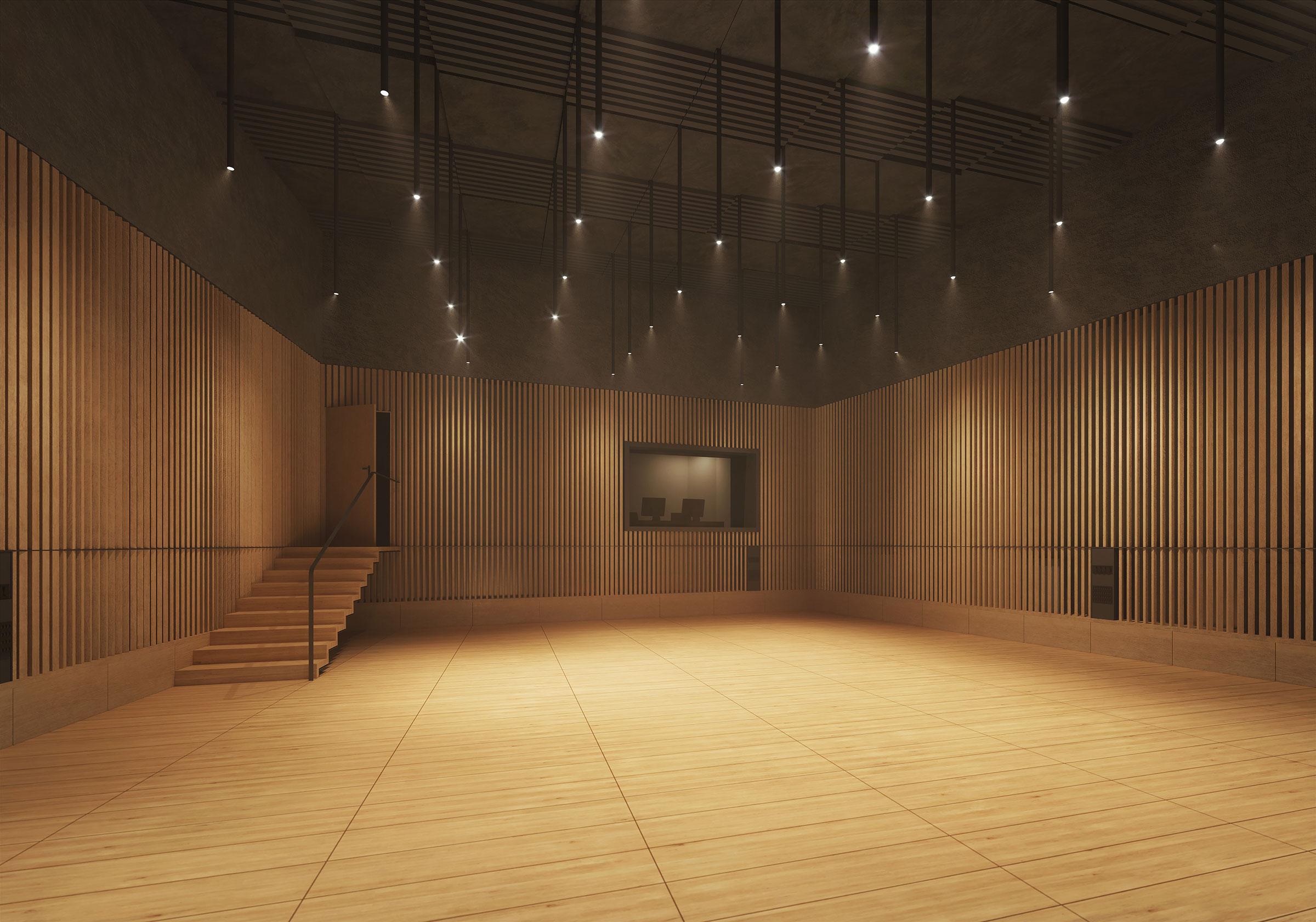 Perspective du studio 118 réalisée par LEMON SARL sur la base de l'avant-projet.<br />Le studio 118 sera consacré à la prise de son de petites formations classiques.<br />Ces trois studios s'inscrivent dans le projet « Studio Radio France », dont l'objectif est de rendre visibles les Studios de Création pour accroître la notoriété de Radio France.<br />© BUZZO SPINELLI ARCHITECTURE / WSP / RADIO FRANCE