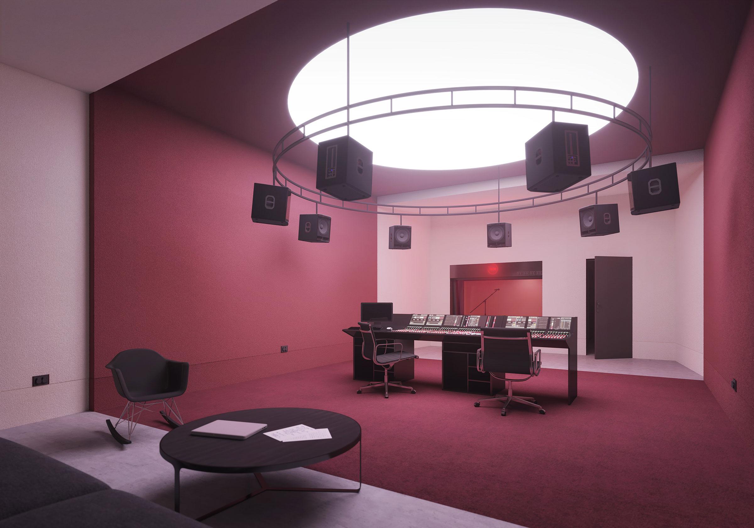 Perspective du studio 120 réalisée par LEMON SARL sur la base de l'avant-projet.<br />Le studio 120 deviendra une cabine de prise de son analogique.<br />Ces trois studios s'inscrivent dans le projet « Studio Radio France », dont l'objectif est de rendre visibles les Studios de Création pour accroître la notoriété de Radio France.<br />© BUZZO SPINELLI ARCHITECTURE / WSP / RADIO FRANCE