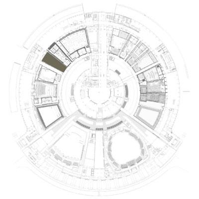 Perspective du studio 105 réalisée par LEMON SARL sur la base de l'avant-projet. <br />Dédié prioritairement à la captation et à la diffusion de concerts de variétés, le studio 105 pourra accueillir un public de 240 personnes. Il bénéficiera d'équipements de projection qualité cinéma et une partie des gradins sera rétractable pour agrandir la scène.<br />© Atelier Zündel Cristea - Rahim Danto Barry / WSP / RADIO FRANCE